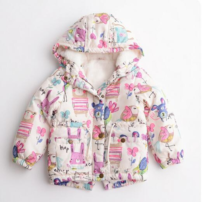 2017 Hot item Children Graffiti Plus velvet Jacket Hooded Birds Cartoon Boys Girls Cotton-padded ClothingОдежда и ак�е��уары<br><br><br>Aliexpress