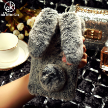 AKABEILA Rhinestone Rabbit Fur Cover Mobile Phone Bags Cases For Xiaomi Mi Max 2 6.44 inch Xiaomi Mi Max2 Fluffy Shockproof Case(China)