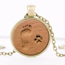 Tomtosh DOG LOVER NECKLACE Dog Paw Pendant Paw Print Jewelry Paw and Footprint Pendant Gift for Dog Lover Gift Free shipping(China)