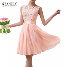 Women 2017 ZANZEA Party Dresses Sleeveless O-Neck Lace Crochet Chiffon Patchwork Sexy Summer Mini Dress Vestidos Plus Size