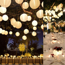 10pcs/lot 10''(25cm) White paper lanterns+White LED Light Round Lanterns Lamps Festival Wedding Decoration(China)