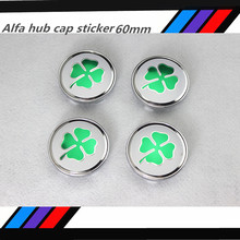 20pcs Free shipping 60mm Alfa Romeo GT quatrefoil green car Wheel Center Hub Cap Wheel Dust-proof Badge emblem covers(China)