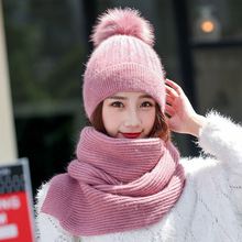 2pcs Winter Warm Girl Fashion Knitted Scarf and Hat Set Neckerchief Fur Pom Pom Ball Snowflake Thick Female Beanie(China)
