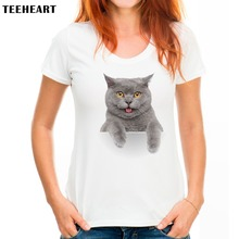 TEEHEART Cute Little Baby Cat T shirt Women Lovely Style Hot Sale Shirt Brand Good quality comfortable Soft Tops PX283(China)