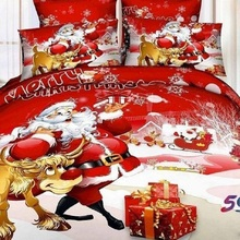 NEW Hot Selling Cotton Fabric Christmas bedding set bed sheet Girls Red duvet cover set Queen King size bed set new arrival