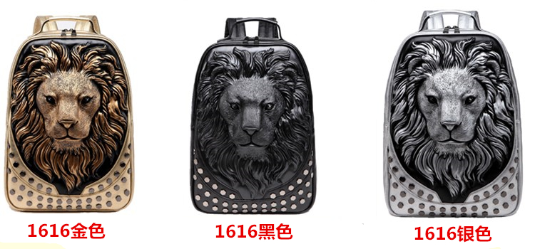 3D Embossed Lion Head Studded Rivet Gother Men Backpack Women Leather Soft Travel punk rock Backpack Laptop School Halloween Bag