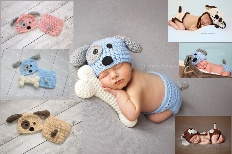 newborn Beanies, baby Puppy Dog Hat and Diaper / Nappy Cover baby set / BABY GIFT, newborn crochet Photography Props(No bones<br><br>Aliexpress