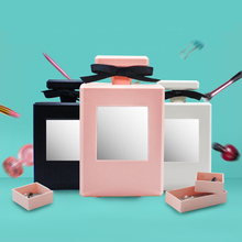Fashion Perfume Bottle Makeup Mirror Jewelry Storage Box Table Decor Plastic Cosmetic Mirror Container Organizer Women Gifts(China)