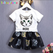 2016 New Kids Girls Summer Clothes Cartoon Cat Design T-shirt+Skirt 2pcs Baby Girls Outfits Toddler Clothing Set 0-7Year BC1085