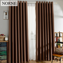 NORNE Darkening Solid Thermal Insulated Blackout Curtains Heat Soundproof Window Grey Drape Blinds Panel for Bedroom Living Room