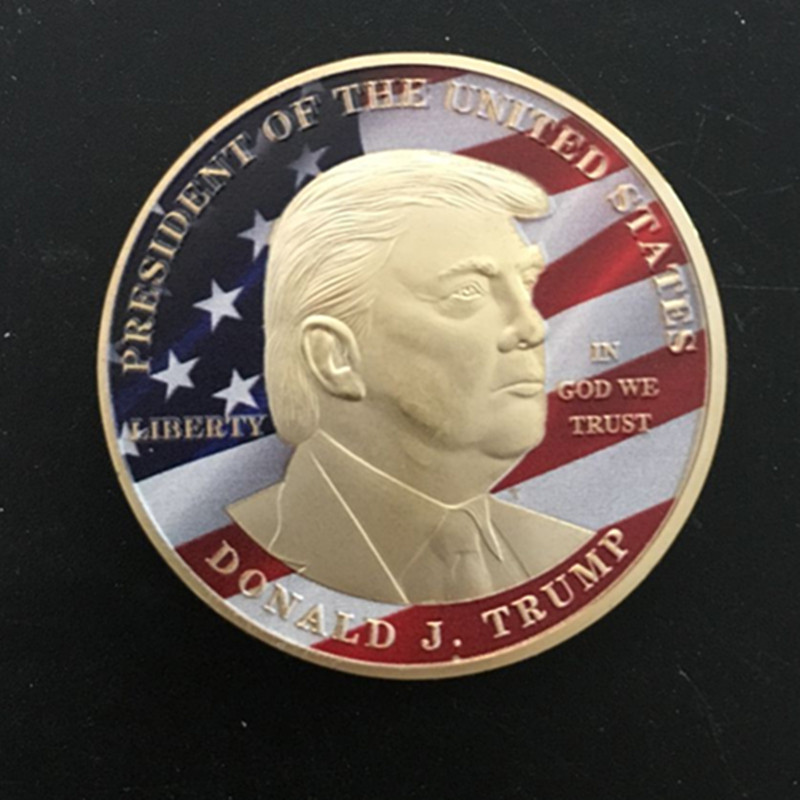 1 pcs Sample order Donald Trump coin president USA 24K real gold plated badge 40 mm souvenir coin badge