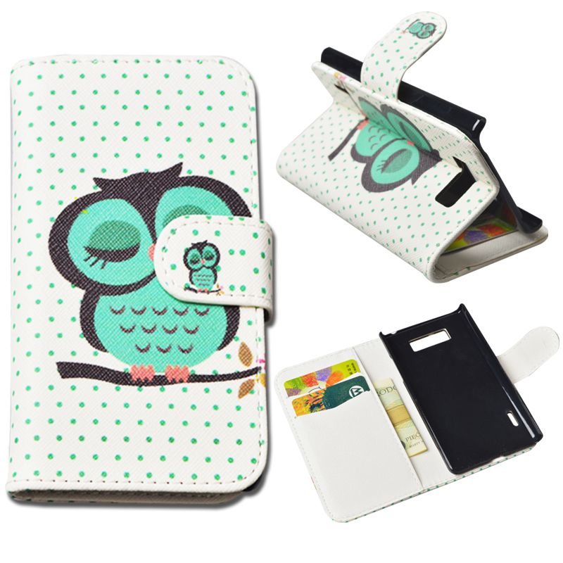 10 Colors Cute Printing PU leather Case LG Optimus L7 P705 P700 Cover Wallet Phone Cases Stand Card Holder