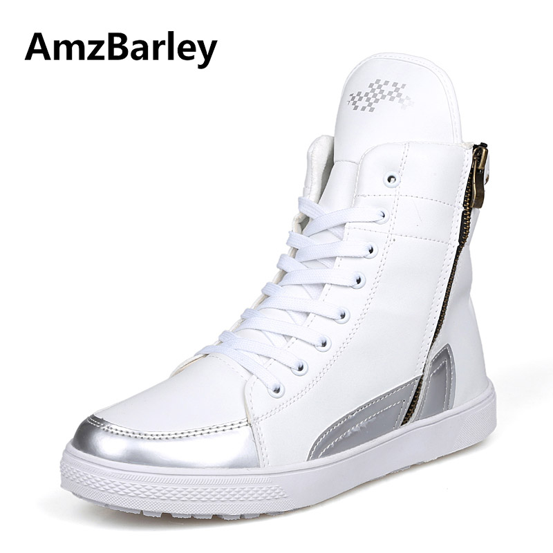 AmzBarley Mens Shoes High Top Flat Patchwork Casual Winter Men Walking Black PU Leather POP New Arrivals Zapatillas T120601<br>