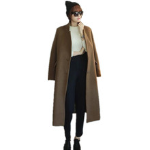 2017  New women's loose plus size woolen overcoat female medium-long  Korean Camel Cashmere coat,brand solid long wool jackets