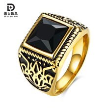 New Geometric Male Black/Red Cut Glass Ring Men Jewelry High Quality Engagement Ring Retail/Wholesale