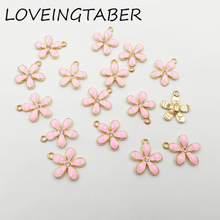 Buy 21mm*17mm 30pcs/lot Full Enamel Pink Flower Small Charm Pendants Jewelry Making Handmade DIY Accessories for $5.01 in AliExpress store