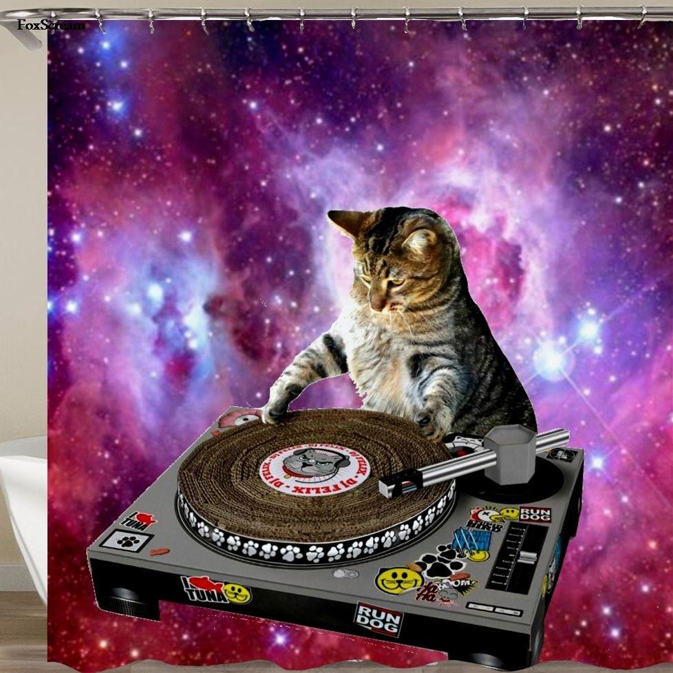 Bath Shower Curtain Funny Star Space Waterproof Cat Shower Bathroom Curtain