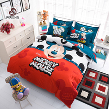 ParkShin Mickey Mouse Bedding Set Cartoon Kids Favorite Home Textiles Blue and Orange Bed Linen Twin Queen Size 3pcs/4pcs