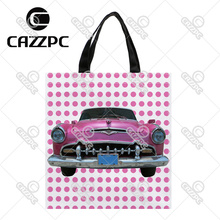 Pink Dot and Vintage old Car Print Custom Oxford Nylon Fabric Shopping Storage Grocery bag Pack of 2