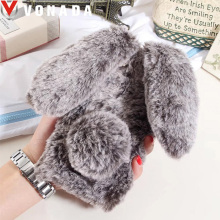 Vonada Plush Case for Xiaomi Redmi 4X 4A 3S Note 4X Note 4 Cute Rabbit Ears Fur Cover TPU Diamond Jewelled Soft Phnoe Case Cover(China)