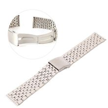 New Metal Strap Silver Watch Band Unisex Bracelet Double Stainless Steel Fold Deployment Clasp Watch  Buckle18 20 22mm