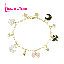 Kayshine Gold-Color Chain Bracelet Pink Black White Enamel Star Cat Bowknot Moon Angel Wing Charm Bracelet Jewelry For Women(China)