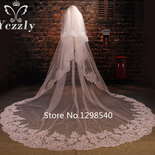 Royal Two Layers White/Ivory Cathedral Wedding Veil With Comb Real Pictures Lace Edge Applique Bridal Veils Voile De Mariee WB46(China)