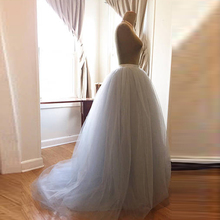 Elegant Pale Blue Bridal Skirt Real Photo Long Tulle Skirt with Train 2018 Puffy Ball Gown Wedding Skirt Winter Style Saia Longa(China)
