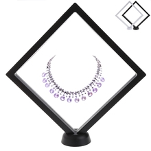 Suspended Floating Jewellery Display Case Gems Artefacts Stand Holder With Base Black White Jewellery Stand Holder Box(China)