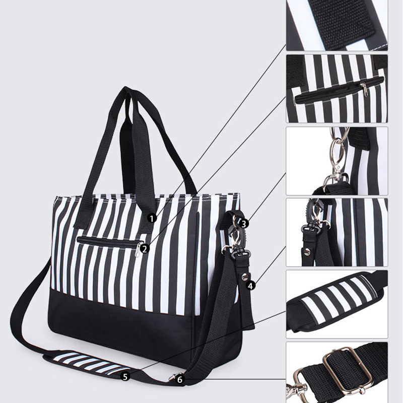 Diaper Bag Mummy Backpack Nappy Bag Large Capacity Stroller Bags Black And White Stripes Nursing Bag For Baby Care (8)