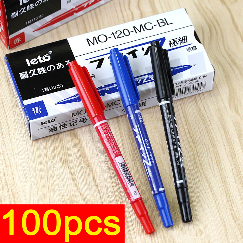 100pcs Dual Tip Permanent Marker Car Paint Marker Pen Set No-Fade Fine Oil Markers for Metal CD Glass Paper (Black Red Blue)<br>