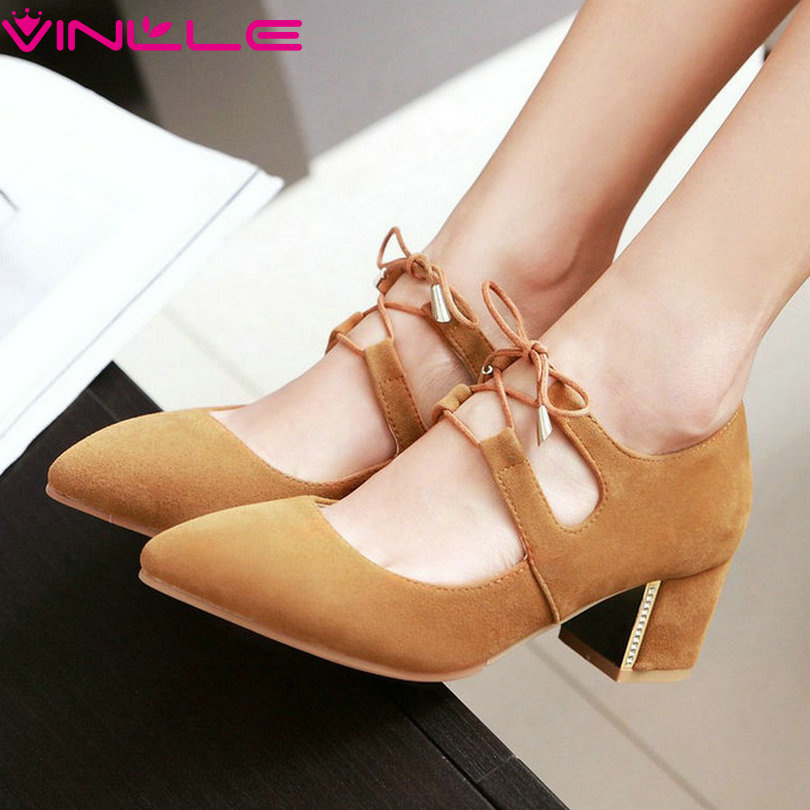 VINLLE 2017 Woman Pumps Square Med Heel Lace Up  Pointed Toe Spring Women Shoes Elegant  Wedding /dating Shoes Big Size 34-43<br><br>Aliexpress