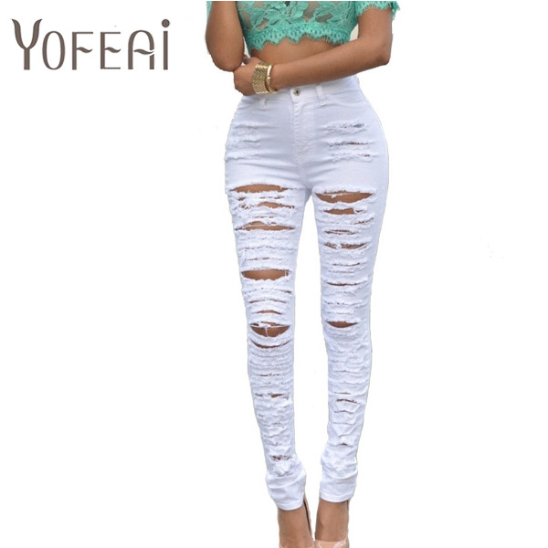 YOFEAI NEW Denim Women 2017 High Waist Ripped Jeans for Women Skinny Black White Hole Jeans Woman Elastic Slim Jean FemaleОдежда и ак�е��уары<br><br><br>Aliexpress