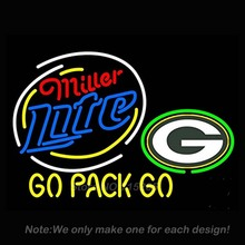 Miller Lite Green Packers Neon Light Sign Real Glass Tube Handcrafted Neon Bulbs Recreation Room Garage Wall Neon Signs VD 24x31(China)