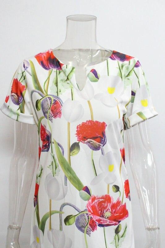 2018 Spring Summer Printed Women Dress O-Neck Hem Side Split Ladies Dresses Tie Sashes Short Sleeve Casual Sexy Female Vestidos 13