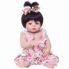NPK Hot Sale Reborn Baby Dolls Realistic Girl Princess 23 inch Baby Dolls Alive Reborns Toddler bebe Washable Toy For kids Gifts(China)