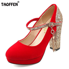 Buy TAOFFEN women stiletto buckle high heels ankle strap sexy shoes water proof wedding pumps heeled shoes size 32-43 P23484 for $26.88 in AliExpress store