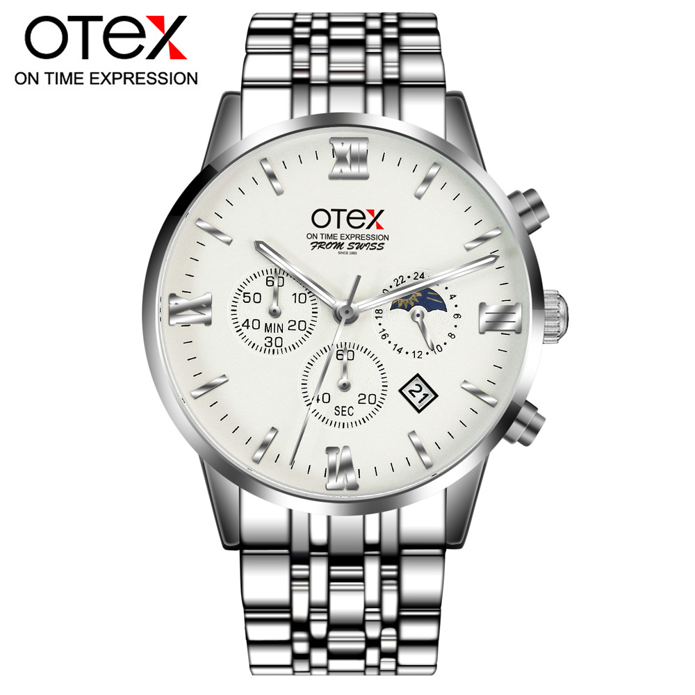o2 otex Masculino Chronograph Luminous Mens Watches Mans Leather Luxury Brand Military Wristwatches Hour Clock with Calendar<br>