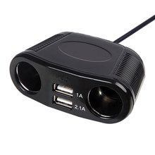 Car Cigarette Lighter 150W 1A 2.1A Universal 2 Ports Dual USB USB Charger Adapter LED Indicating 4 Way Socket Splitter USB Hub