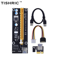 TISHRIC Black 60cm PCI-E extender PCI Express Riser Card 1x to 16x USB 3.0 SATA to 4Pin IDE Molex Power for BTC Miner Machine