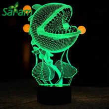 Piranha Flowers Creative 3D Touch Table Lamp 7 Color Changing RGB 3D LED Night Lights Lamp Visual 3D Light USB for Kids Gifts(China)