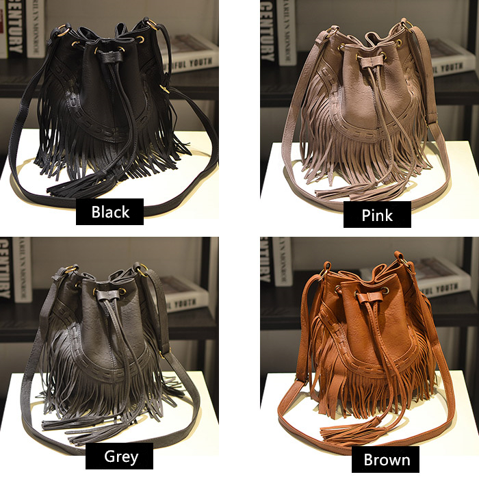 Cecelia Leather Fringe Shoulder Bag Fringe Tassel Music Festival ... bea441a26e407
