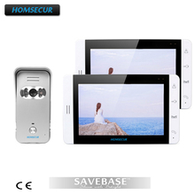 "HOMSECUR Wired Video Door Phone Intercom System 2X 7"" Monitor Touch Key 1X 700TVL Camera(China)"