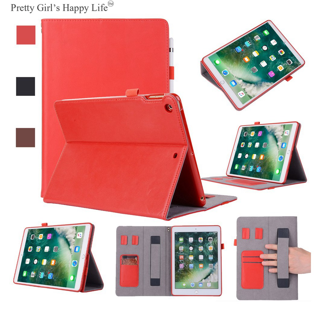 For Apple iPad 9.7 inch 2017 Genuine Leather Case Stand Flip Cover For Apple iPad 9.7 inch 2017 Tablet Shell Capa Funda+Stylus<br>