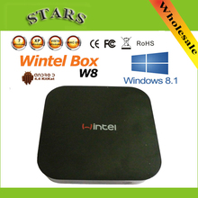 Wintel W8 Mini PC Box for Windows8 8.1&Android4.4 Dual OS Intel Quad Core 1.33GHz CPU 2G RAM 32G Bluetooth android smart tv box