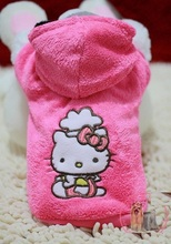 5pc/lot Hello kitty  Pet dog clothes cute winter rose coat hoody jumper clothing for dogs mascotas roupa para cachorro  XS-XL