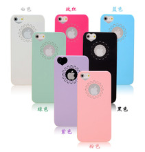 Cute candy Color Loving Heart Flower Lace Hard Phone Case Cover For iPhone 5 5s SE 6 6s 7 mobile phone cases capa Coque(China)