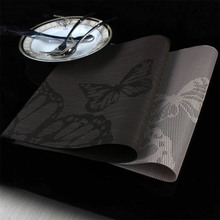 4 Pcs/lot butterfly Placemat  pvc dining table mat disc pads bowl pad coasters waterproof table cloth pad slip-resistant pad