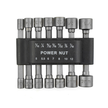 "Chrome Vanadium Steel Power Nutdriver SAE Metric Nut Driver Set 1/4"" Shank Hex Screwdrivers DIY Repair Hand Tools Set(China)"
