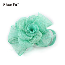 Women Ladies Party Cocktail Fascinator Handmade Sinamay Fascinators Brooch with Feathers Hair Acessories SFB6932 12pcs/lot